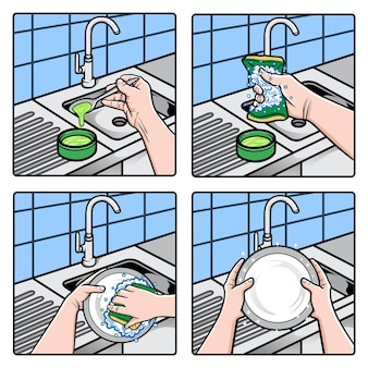 Hands washing dishes with sponge and soapy water illustration