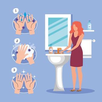 Техника мытья рук и женщина аватар, дезинфицирует чистую антибактериальную и гигиеническую тему иллюстрации