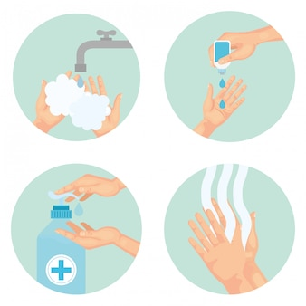 소독제를 사용하여 손을 씻는 기술, 소독 항균 및 위생 테마 일러스트레이션 소독
