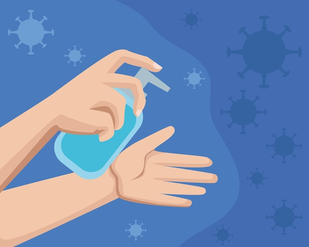Hands washing with sanitizer bottle