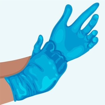 Hands wearing protective gloves