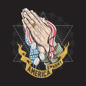 Hands with the american flag are praying artwork for veterans, memorial day and independence day design Premium Vector