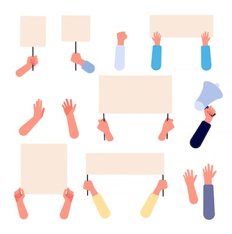 Hands with blank placard. people holding protests banners, activists protesters manifestation empty signs. flat vector isolated set