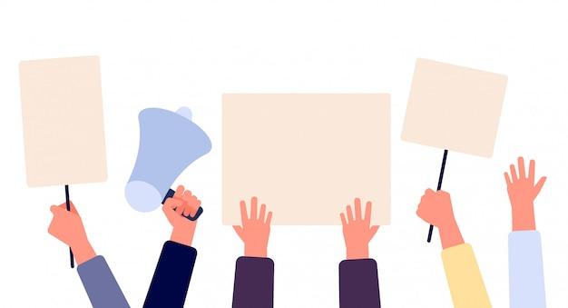빈 게시와 손입니다. 시위 배너, 빈 투표 표시가있는 활동가를 들고있는 사람들. 선거 캠페인 벡터 개념