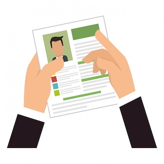 Hands with cv or resume clip-art
