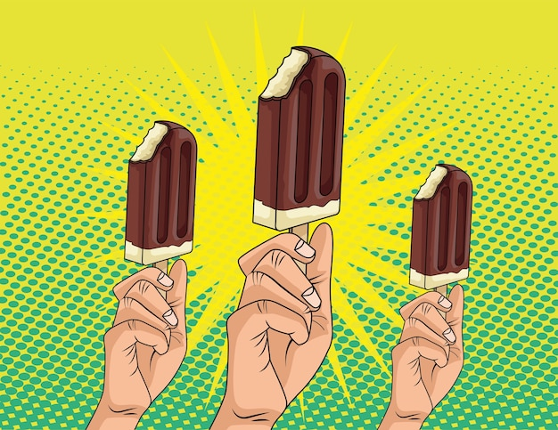 Hands with delicious ice creams in sticks pop art style