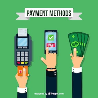 Hands with different payment methods