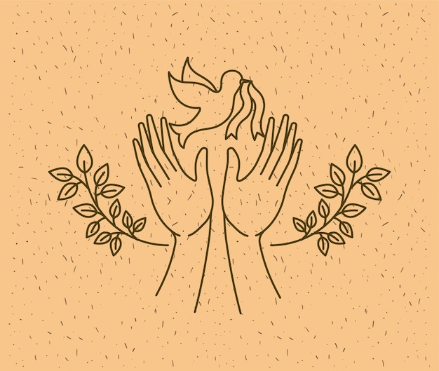 Hands with dove world peace