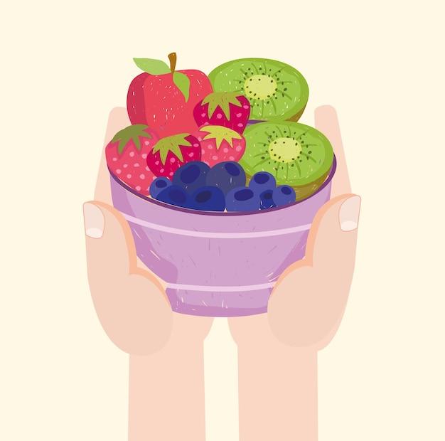 과일 샐러드와 손