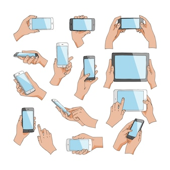 Hands with gadgets  hand holding phone or tablet and character working on smartphone illustration