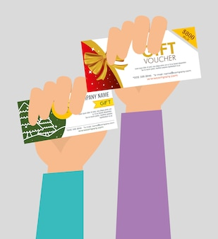 Hands with gifts vouchers