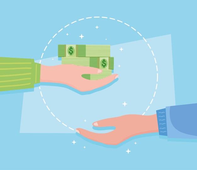 Hands with green bills
