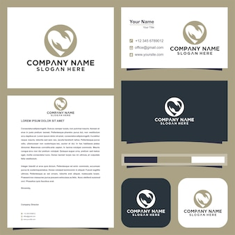 Hands with heart logo and business card premium