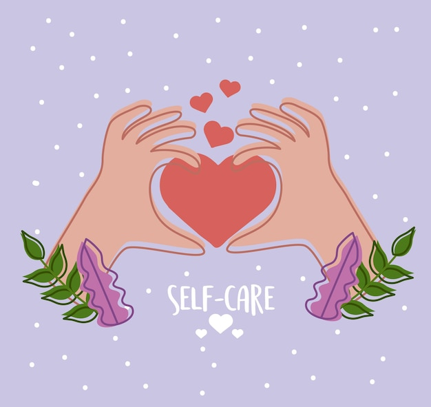 Hands with heart self care
