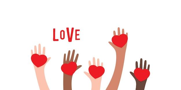 Руки с иллюстрацией формы сердца