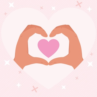 Hands with heart shape illustration