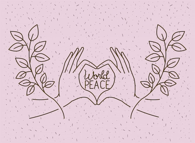 Hands with heart world peace