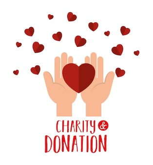 Hands with hearts for charity donation