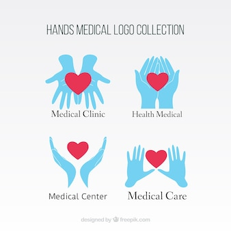 Hands with heat medical logos