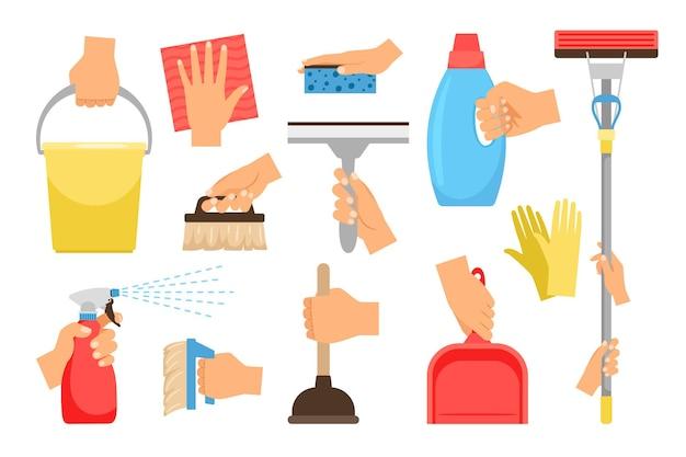 가정용 장비와 손. 가사 노동자 핸드셋, 스프레이 세제 및 청소 도구를 사용한 가정용 조작
