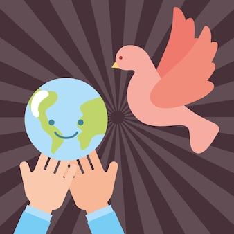 かわいい世界平和鳩飛行の手