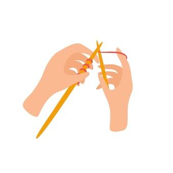 뜨개질 바늘과 뜨개질 공예 취미 개념 홈 바느질 손