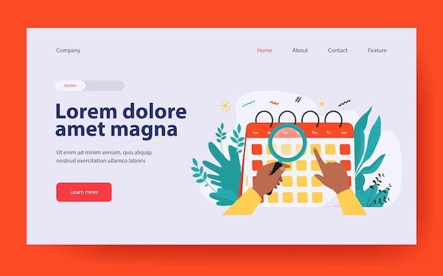 Hands with magnifier checking calendar landing page in flat style
