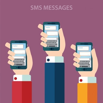 Hands with mobile phones design