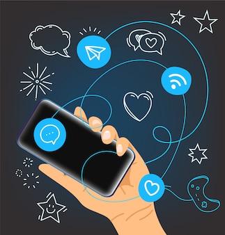 Hands with modern smartphones
