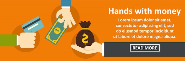 Hands with money banner horizontal concept