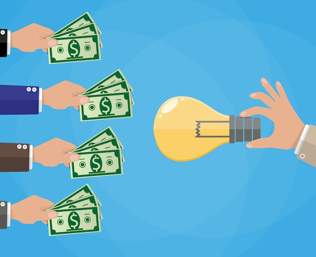 Hands with money and idea bulb. crowdfunding.