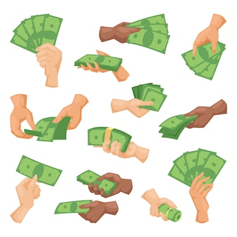 Hands with money vector illustration isolated