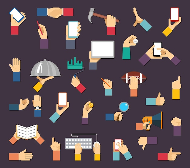 Hands with objects. hands hold devices and tools. hand and object, device tool hand, equipment hand Free Vector