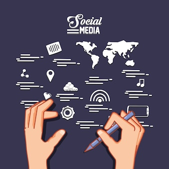 Hands with pen and social media related icons