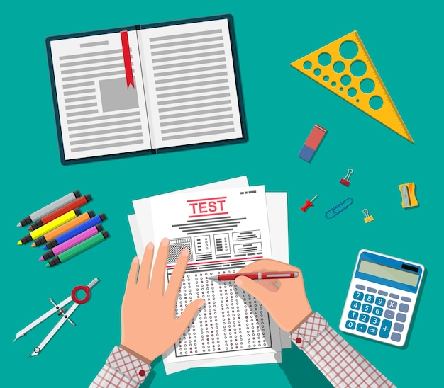 Hands with pen fill survey or exam forms. answered quiz papers, pile of sheets with education test. checklist or questionnaire document