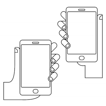 Hands with phone set vector illustration