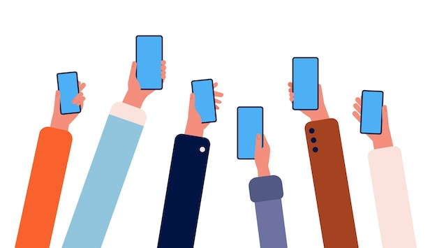 Руки с телефонами. многие люди, держащие смартфоны в руках, толпятся с гаджетами интернет-соединение с вектором дружбы. иллюстрация смартфон гаджет в человеческой руке