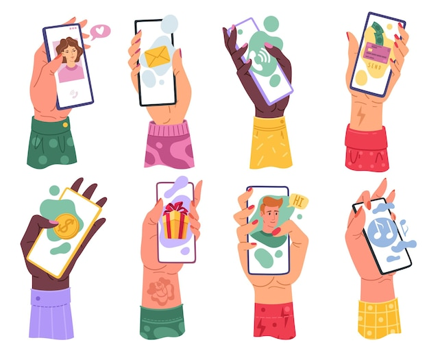 電話を持つ手。メールアプリケーションインターネット音楽プレーヤーとオンラインデート、バンキングモバイルアプリ現代のデバイスフラット漫画ベクトル明るい孤立したセットでスマートフォンを持っているミレニアル女性の手
