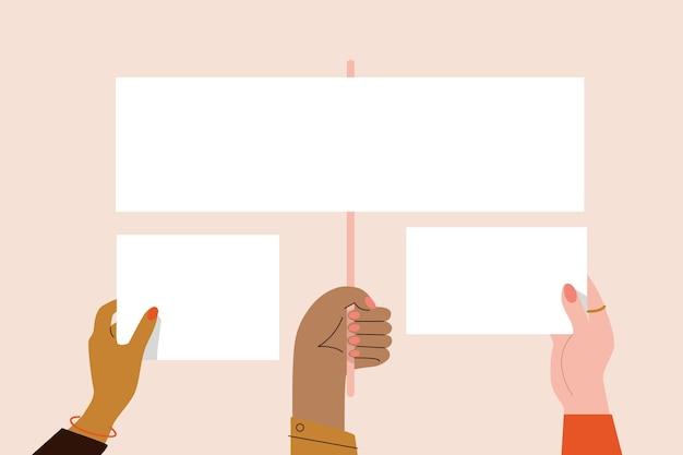 Руки с концепцией плакатов