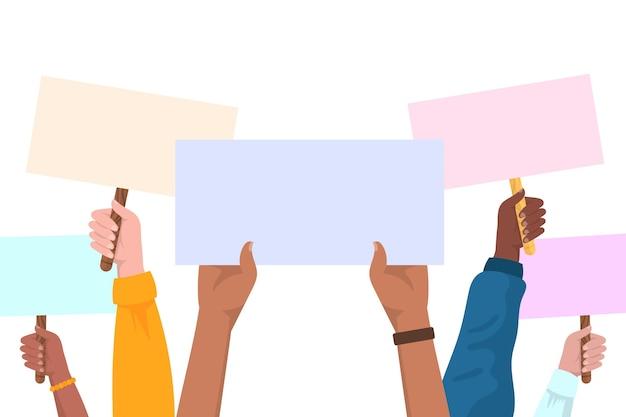 Руки с плакатами