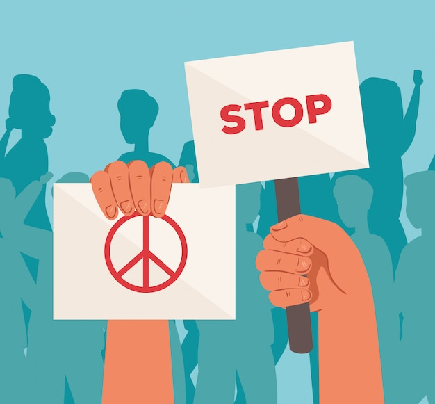Руки с плакатами протеста, активист со знаком демонстрации забастовки, концепция прав человека