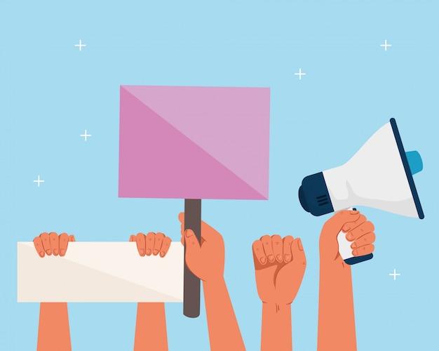 抗議のプラカードとメガホン、ストライキ症状の記号、人間の権利の概念を持つ活動家の手