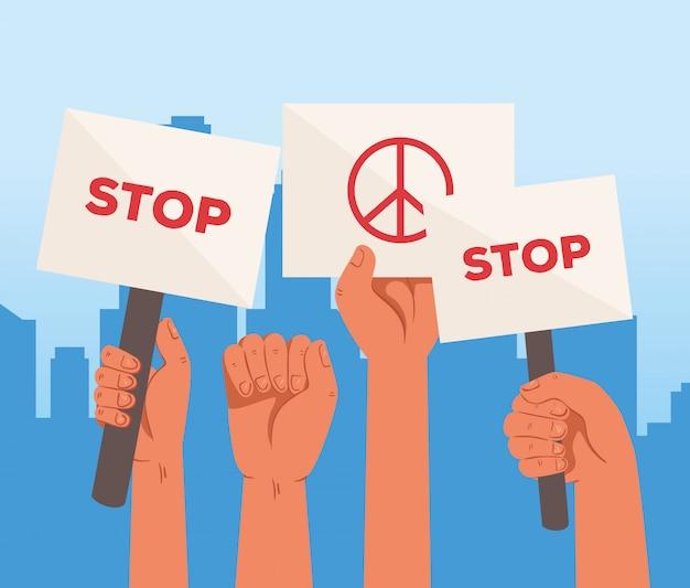 Руки с плакатами протеста, стоп и знак мира и любви, держащие знамена, активист со знаком демонстрации забастовки, концепция прав человека