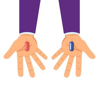Руки с выбором красных и синих таблеток