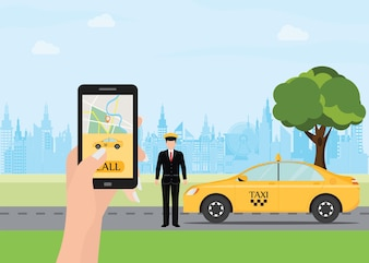 Hands with smart phone and taxi application