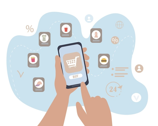 スマートフォンを持った手がモバイルアプリを使って買い物をする