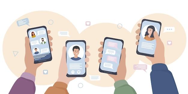 スマートフォンを持った手。人々はソーシャルネットワークやメッセンジャーでコミュニケーションを取り、チャットし、オンラインsmsを作成し、ビデオ通話を使用します。モバイルアプリケーションとインターネットテクノロジー。フラットベクトル