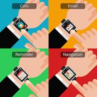 スマートウォッチと未読メッセージのある手。テクノロジーとメール、コミュニケーションとスクリーン