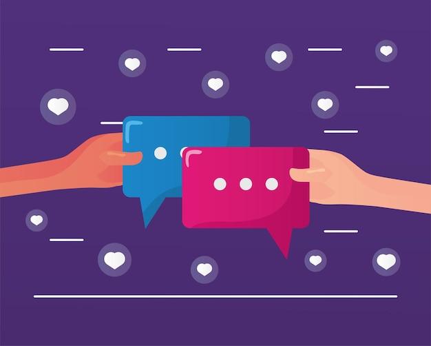 Руки с речевыми пузырями иллюстрации коммуникации