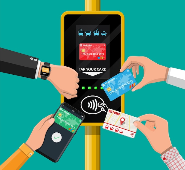 Hands with transport card, smartphone, smartwatch and bank card near terminal.